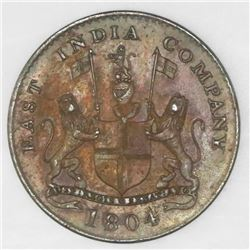 Bombay, India, 1/2 pice, AH1219 (1804), NGC UNC details / environmental damage.
