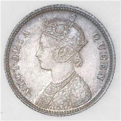 Calcutta, India, 1/4 rupee, 1862-(C ), NGC MS 64.