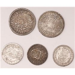 Lot of five Mexico City, Mexico, pillar reals: 1R 1768M, 1R 1769M, 1/2R 1735MF, 1/2R 1760M, and 1/2R