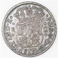 Mexico City, Mexico, pillar 2 reales, Philip V, 1744M.