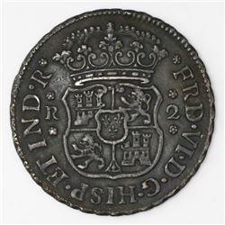 Mexico City, Mexico, pillar 2 reales, Ferdinand VI, 1748M, FRD/PHS (rare).