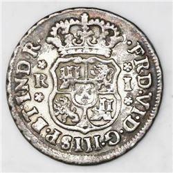 Mexico City, Mexico, pillar 1 real, Ferdinand VI, 1750/49M, very rare overdate, ex-Rudman.