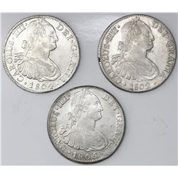 Lot of three Mexico City, Mexico, bust 8 reales, Charles IV, 1802FT, 1804TH, 1805TH.