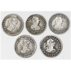 Lot of five Mexico City, Mexico, bust 1/2R: 1781FF, 1782FF, 1788FM, 1799FM, 1800FM.