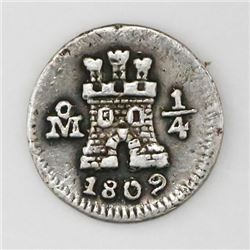 Mexico City, Mexico, 1/4 real, 1809, inverted overdate.