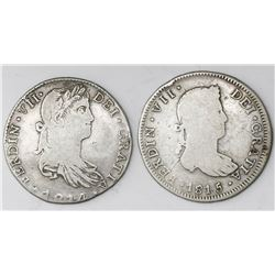 Lot of two Guadalajara, Mexico, bust 4 reales, Ferdinand VII, 1814MR (large bust) and 1815MR.