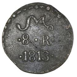 Oaxaca (Morelos / SUD / Tierra Caliente), Mexico, copper 8 reales, 1813, NGC VF 30 Brown.