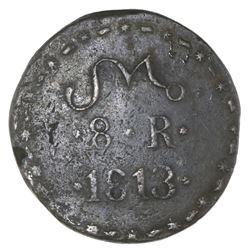 Oaxaca (Morelos / SUD / Tierra Caliente), Mexico, copper 8 reales, 1813, NGC VF 25 Brown, ex-Medina.
