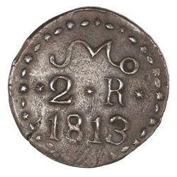 Oaxaca (Morelos / SUD / Tierra Caliente), Mexico, copper 2 reales, 1813, NGC AU 53 BN, finest known