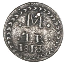Oaxaca (Morelos / SUD), Mexico, cast silver 1 real, 1813, NGC XF details / holed, tooled.