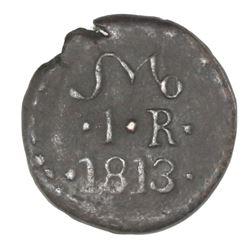 Oaxaca (Morelos / SUD / Tierra Caliente), Mexico, copper 1 real, 1813, NGC XF 40 BN.