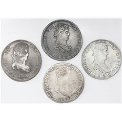 Lot of four Zacatecas, Mexico, bust 8 reales, Ferdinand VII: 1816AG, 1817AG, 1820AG and 1821RG.