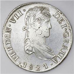 Zacatecas, Mexico, bust 8 reales, Ferdinand VII, 1821RG.