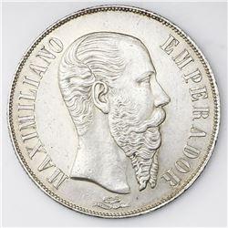 Mexico City, Mexico, 1 peso, 1866, Maximilian.