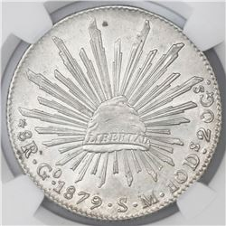 Guanajuato, Mexico, cap-and-rays 8 reales, 1879/8SM, NGC AU 58.