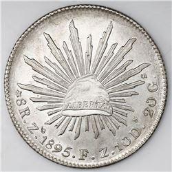 Zacatecas, Mexico, cap-and-rays 8 reales, 1895FZ.