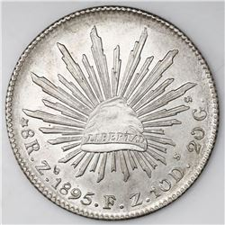 Zacatecas, Mexico, cap-and-rays 8 reales, 1895FZ.