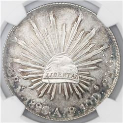 Mexico City, Mexico, cap-and-rays 8 reales, 1896AB, NGC MS 61.