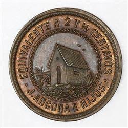 Mexico, copper 2-1/2 centavos hacienda token, 1874, San Jose Kuche.