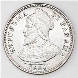 Lot of two Panama coins: 10 centesimos, 1904; 1/10 balboa, 1934.