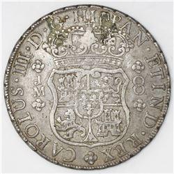 Lima, Peru, pillar 8 reales, Charles III, 1765JM, dot over both mintmarks.