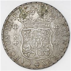 Lima, Peru, pillar 8 reales, Charles III, 1765JM, dot over both mintmarks.