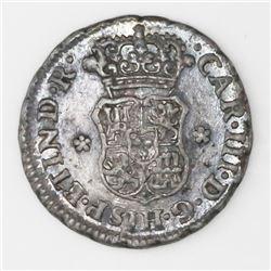 Lima, Peru, pillar 1/2 real, 1764JM, Charles III, NGC XF details / obverse damage.