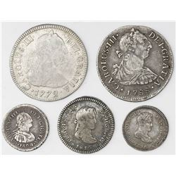 Lot of five Lima, Peru, bust 2R (two), 1R (two) and 1/2R (one), various kings and dates.
