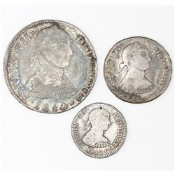 """Lot of three Lima, Peru, reales of Ferdinand VII (""""imaginary bust""""), 1810JP: 2R, 1R, and 1/2R."""