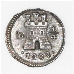 Lima, Peru, 1/4 real, 1808, NGC AU 58.
