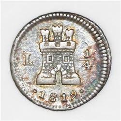 Lima, Peru, 1/4 real, 1819.