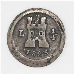 Lima, Peru, 1/4 real, 1823.