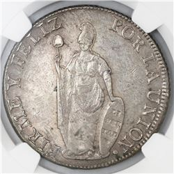 Lima, Peru, 8 reales, 1838M, NGC AU 58, finest known in NGC census.