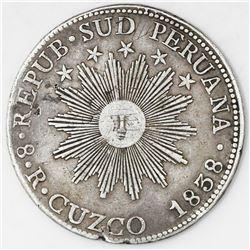 Cuzco, Peru, 8 reales, 1838MS.