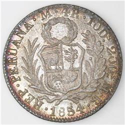 Lima, Peru, 4 reales, 1854MB.