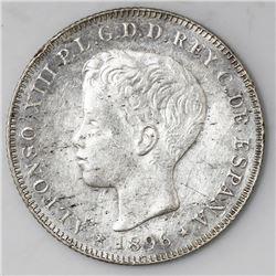 Puerto Rico (under Spain), 40 centavos, Alfonso XIII, 1896PG-V, ex-Rudman.