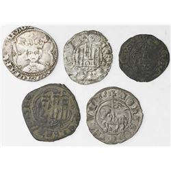 Lot of five 1200s-1400s minors of Aragon and Castile and Leon, Spain (mints of Burgos, Segovia and V
