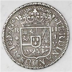 Seville, Spain, milled 2 reales  pistareen,  Ferdinand VI, 1758JV.