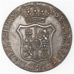 Lot of two Barcelona, Spain, bronze 6 cuartos, Isabel II: 1843 and 1844.