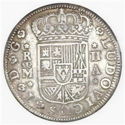 "Lot of three Spain milled minors: Madrid, 2 reales ""pistareen,"" Louis I, 1724A; Cuenca, 1 real, Phil"