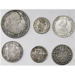 "Lot of six milled Spanish and Spanish colonial minors (pillars, busts and ""pistareens""), various min"