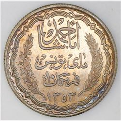 Tunisia (struck at the Paris mint), 10 francs, AH1353 (1934), Ahmad Pasha Bey, NGC UNC details / cle