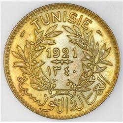 Tunisia, aluminum-bronze 2 francs, AH1340 / 1921, Muhammad V al-Nasir Bey, NGC MS 63.