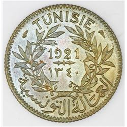 Tunisia, aluminum-bronze 1 franc, AH1340 / 1921, Muhammad V al-Nasir Bey, NGC MS 66.