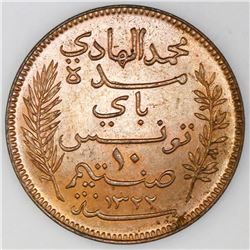 Tunisia (struck at the Paris mint), bronze 10 centimes, AH1322 / 1904-A, Muhammad al-Hadi Bey, NGC M