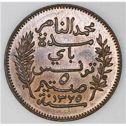 Tunisia (struck at the Paris mint), bronze 5 centimes, AH1325 / 1907-A, Muhammad V al-Nasir Bey, NGC