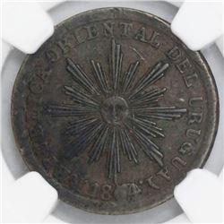Uruguay, copper 5 centesimos, 1854/40, NGC VF 30 BN.