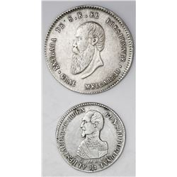Lot of two Potosi, Bolivia, silver medals of 1863 (Acha) and 1867 (Melgarejo).