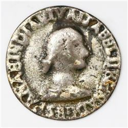 Sancti Spiritus, Cuba, small cast silver medal, Isabel II, 1834, rare.