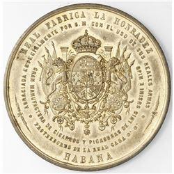 Cuba, large bronze medal, no date (ca. 1859), Royal Tobacco Factory Honradez, ex-Rudman.